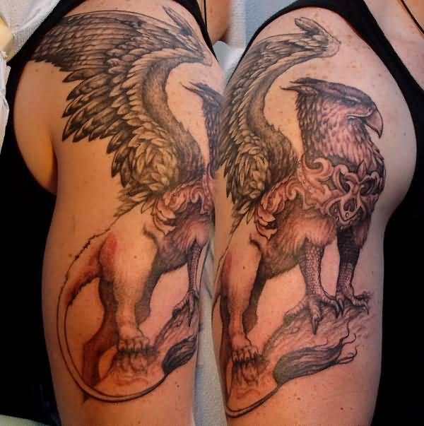 5dcbfe786eccd Superb Griffin Tattoo On Shoulder For Men