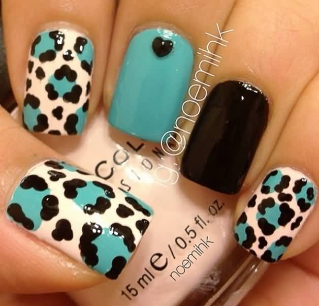Teal Black And White Leopard Print Nail Art Design Idea