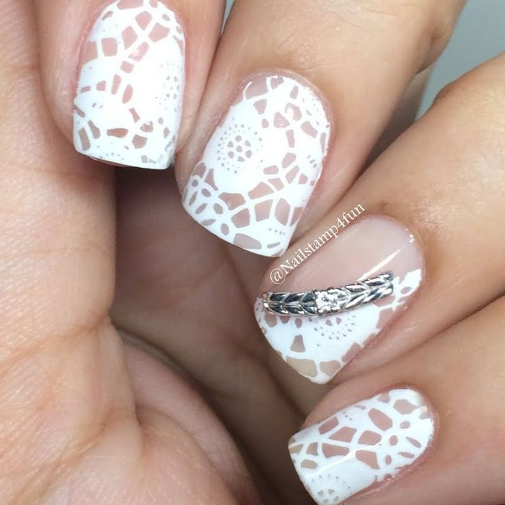 Vintage White Lace Nail Art - 50+ Latest Lace Nail Art Design Ideas