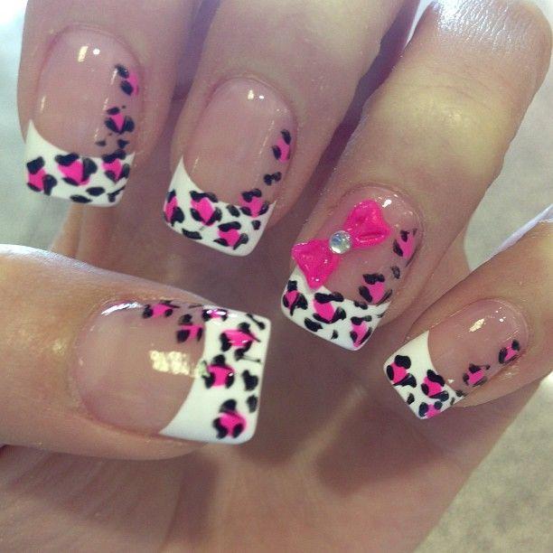 45 cute pink leopard print nail art designs white and pink french tip leopard print nail art prinsesfo Gallery
