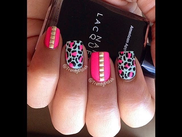55 latest leopard print nail art design ideas for trendy girls white and pink leopard print nail art and rhinestones design prinsesfo Choice Image