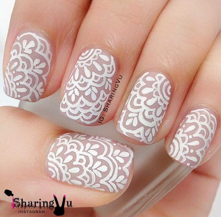 White Lace Flowers Nail Art Design Idea - 50+ Latest Lace Nail Art Design Ideas