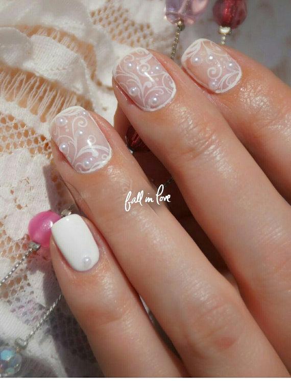 Exelent White Lace Nail Art Vignette - Nail Paint Design Ideas ...