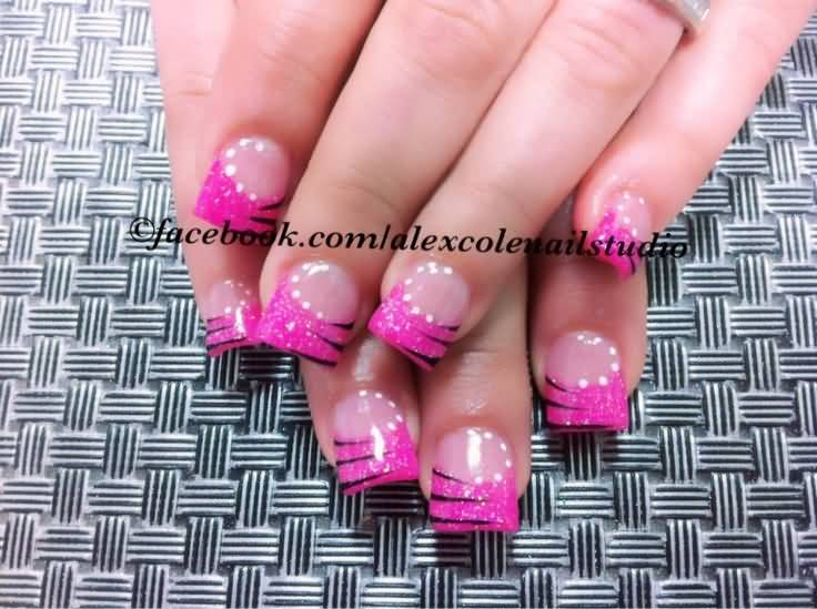 pink and black zebra acrylic nails wwwpixsharkcom