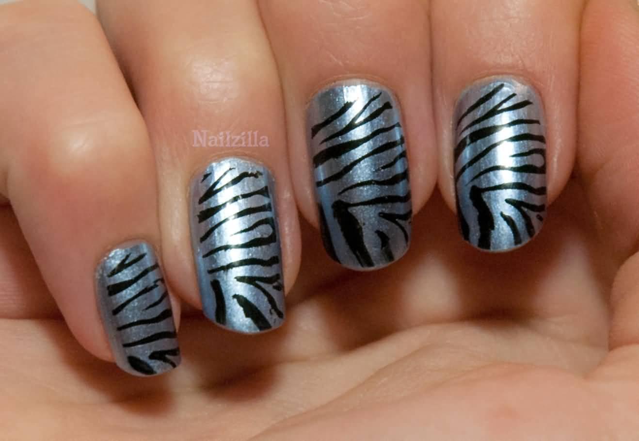 Zebra Print Metallic Nail Art