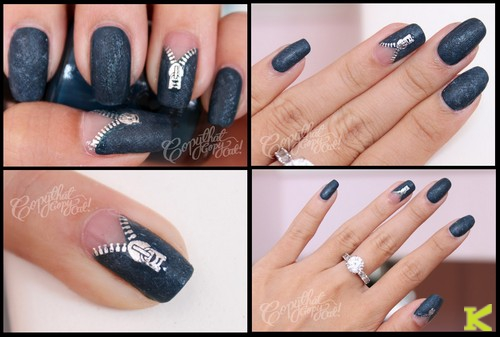Zipped Metallic Nail Art Design
