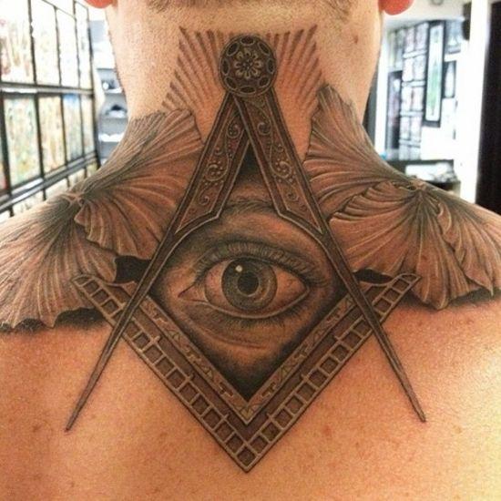 303deb4d7 Amazing Grey Ink Masonic Eye Tattoo On Upper Back