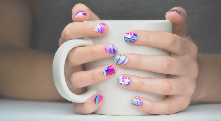 Amazing water marble nail design prinsesfo Image collections