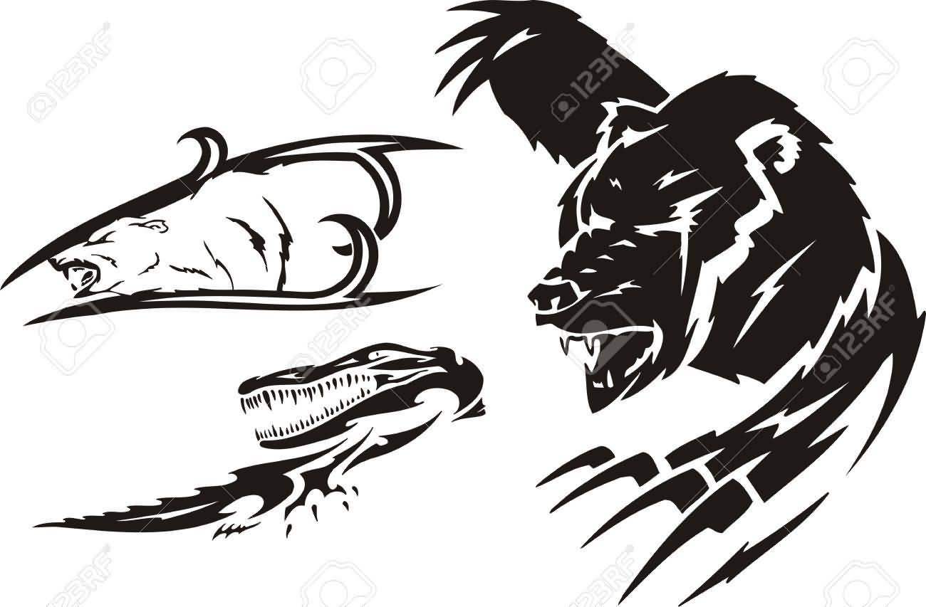 0087242a8d912 Angry Crocodile And Bear And Polar Bear Tattoo Design