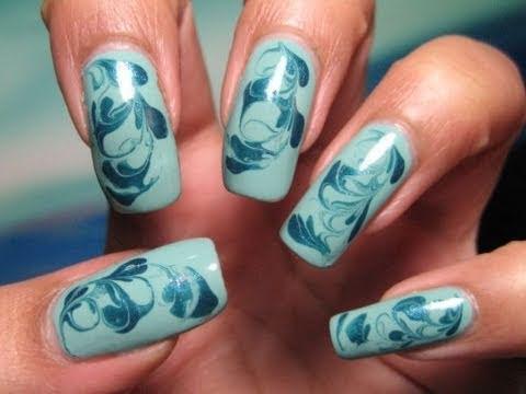 Aqua Swirls Marble Nail Art