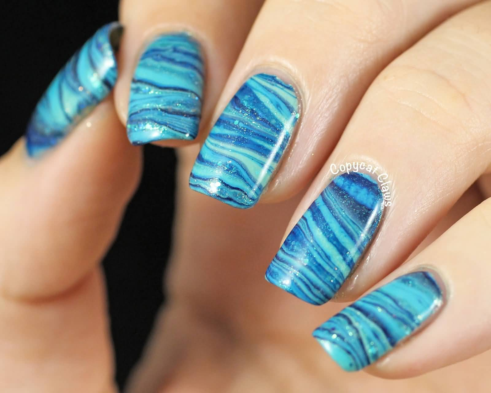 Beautiful Blue Water Marble Nail Art