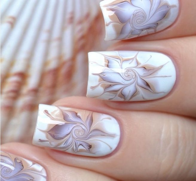 Beautiful Water Marble Flower Nail Design