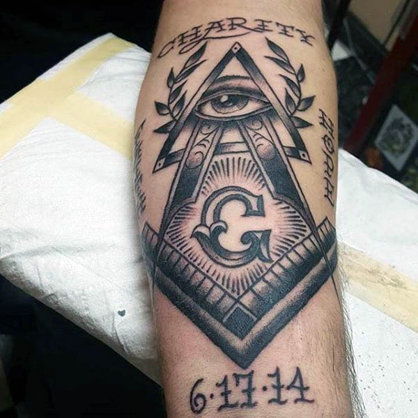 14 nice masonic tattoos on forearm for Masonic symbol tattoos