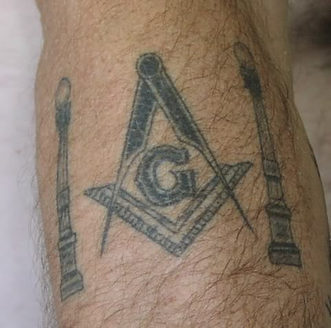 45614b0689e3c Black And Grey Masonic Symbol Tattoo On Leg