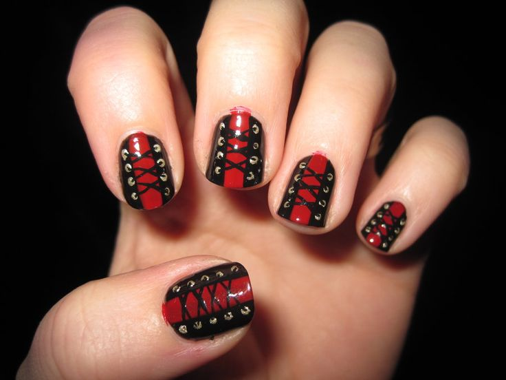 Black And Red Corset Nail Art Design