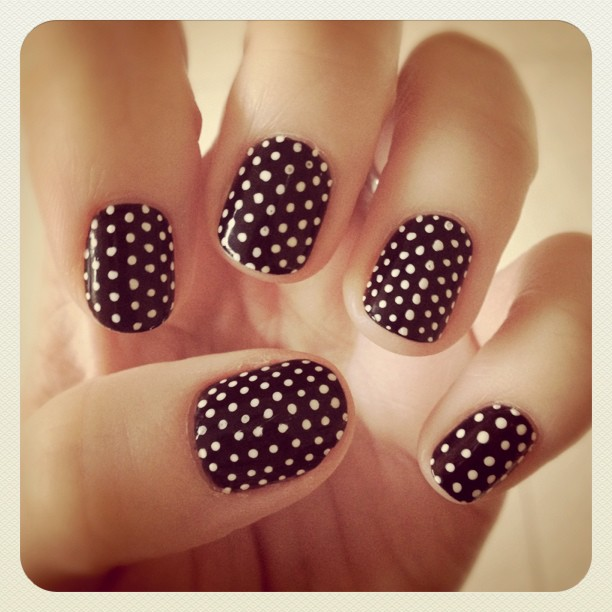 - Black And White Beautiful Polka Dots Nail Art