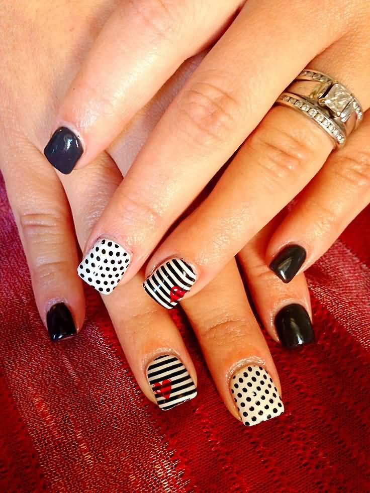 Black And White Polka Dots And Stripes Design Nail Art