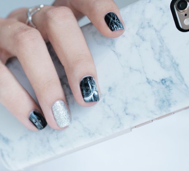 Black Marble Nail Art Design