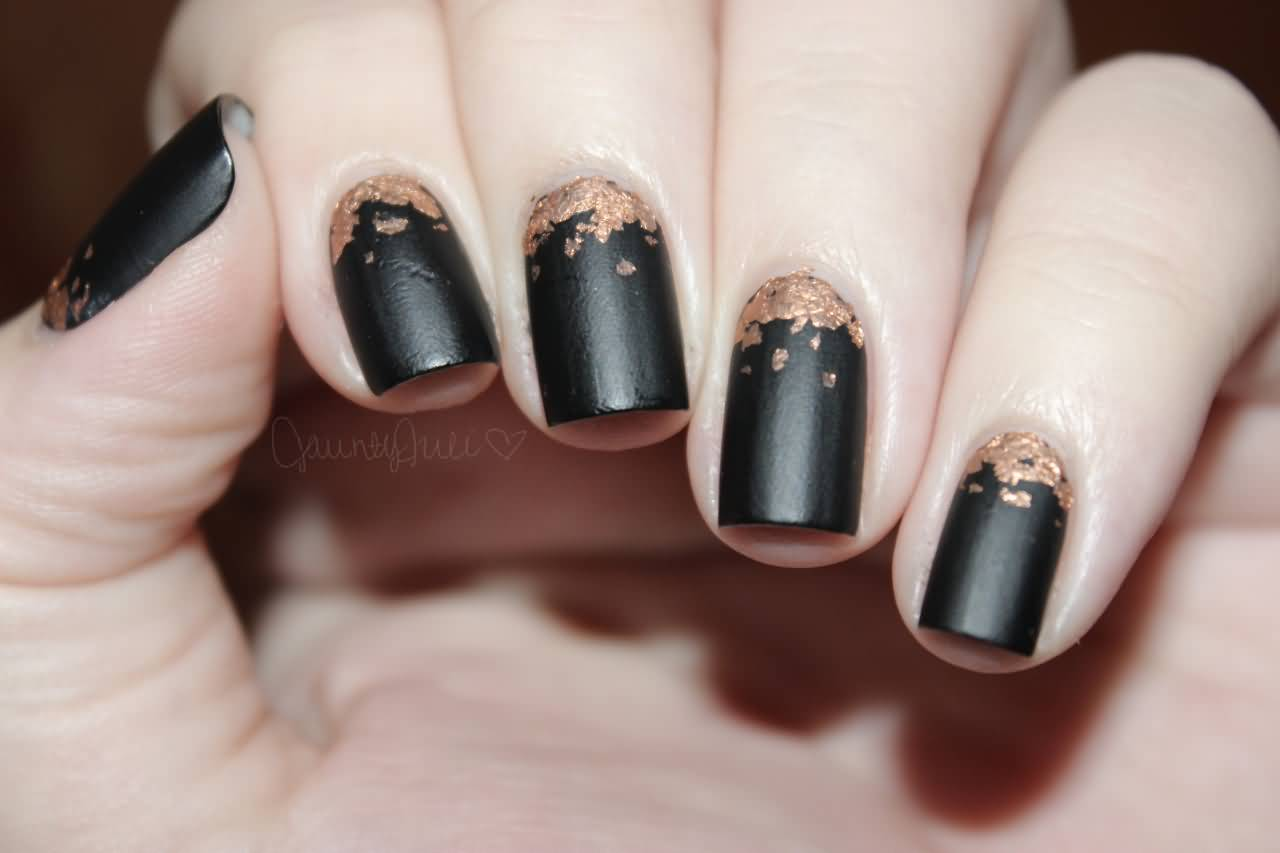 Enchanting Matte Black And Gold Nails Pictures - Nail Art Ideas ...