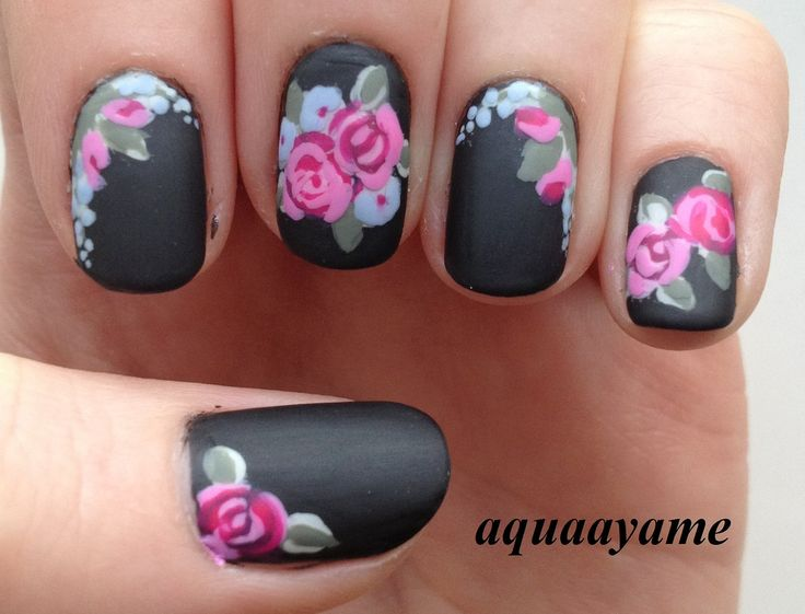 55most stylish matte nail art designs black matte nail art with flowers design prinsesfo Image collections