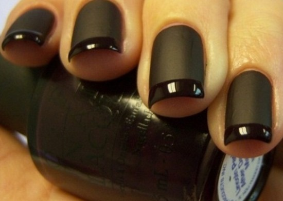 55most stylish matte nail art designs black matte nail art with french tip design prinsesfo Choice Image