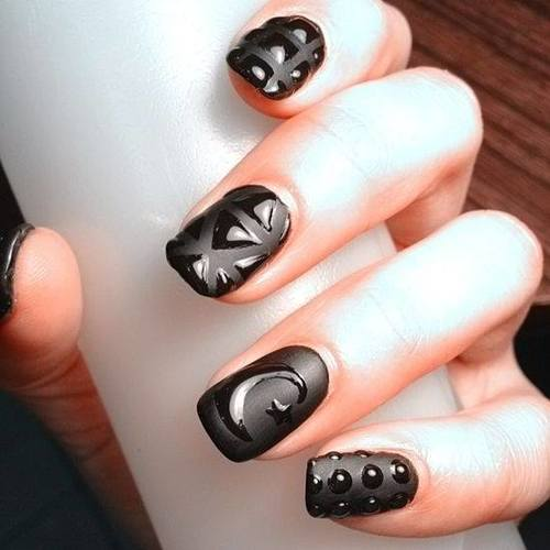 55most stylish matte nail art designs black matte nail art with glossy designs prinsesfo Image collections