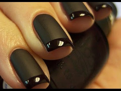 50 most beautiful matte nail art design ideas for trendy girls black matte nail with glossy french tip design prinsesfo Image collections