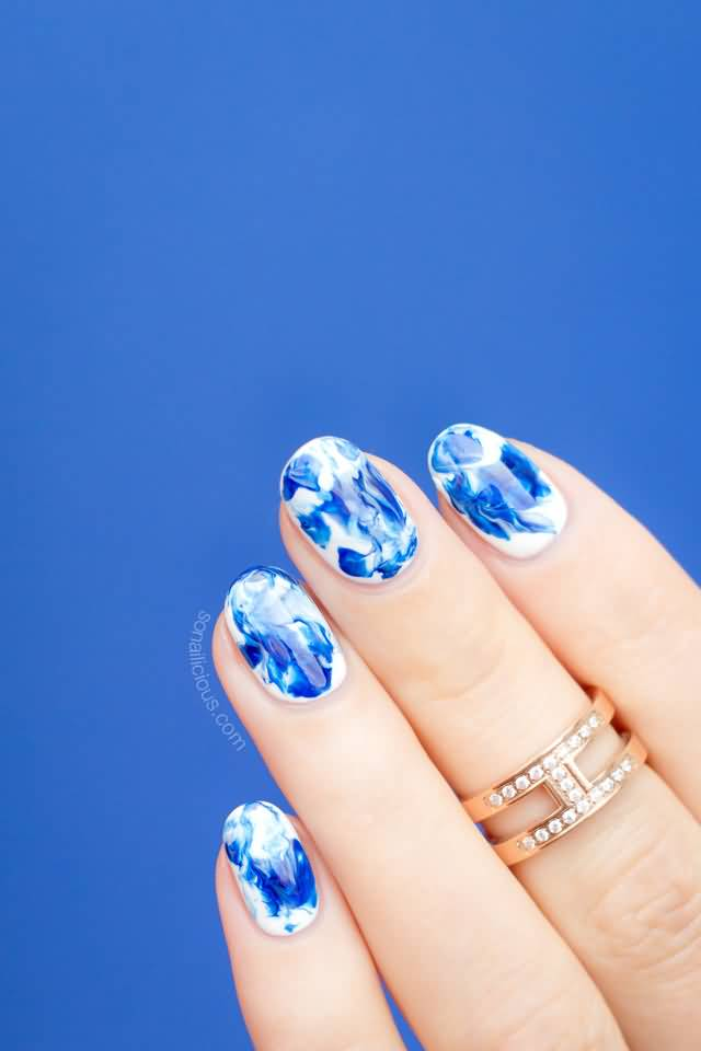 Blue And White Marble : Beautiful marble nail art design ideas