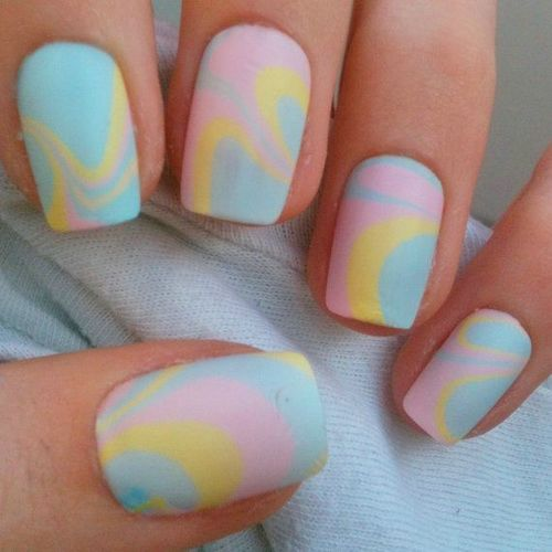 57 beautiful marble nail art design ideas blue pink and yellow matte marble nail art prinsesfo Choice Image