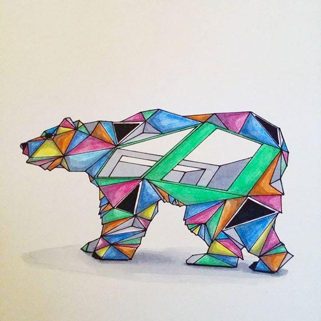 Colorful Geometric Polar Bear Tattoo Design