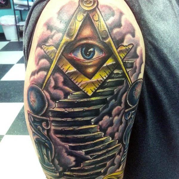 4419465d1 Colorful Masonic Tattoo On Right Half Sleeve