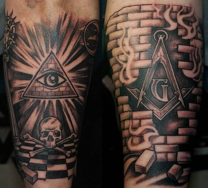 cd8dc43a6 Dark Ink Masonic Tattoo On Arm Sleeve