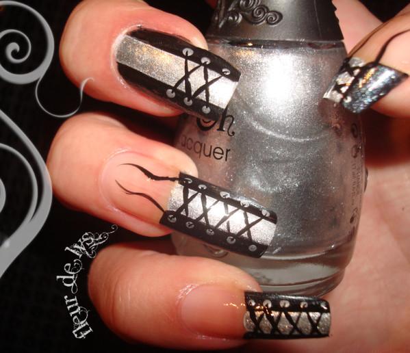 Gray And Black Nail Designs: 50 Most Stylish Corset Nail Art Designs