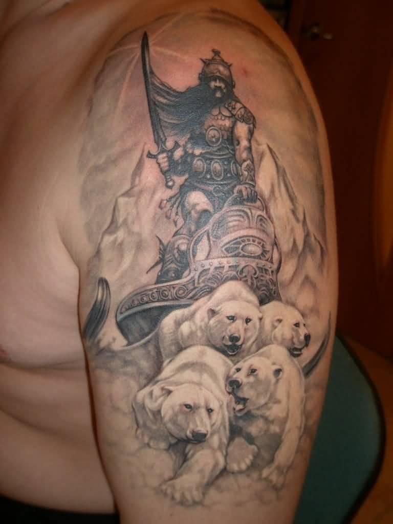 dedccd027 Incredible Warrior On Polar Bears Tattoo On Half Sleeve