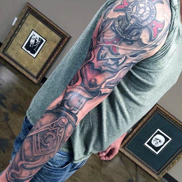 1685f5128 Masonic Tattoo On Man Full Sleeve