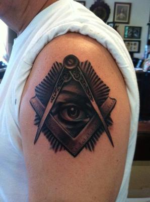 masonic tattoo on right shoulder for men
