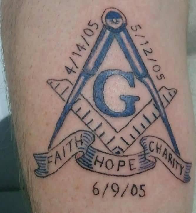 c406e209c Memorial Masonic Tattoo With Faith Hope And Charity Banner