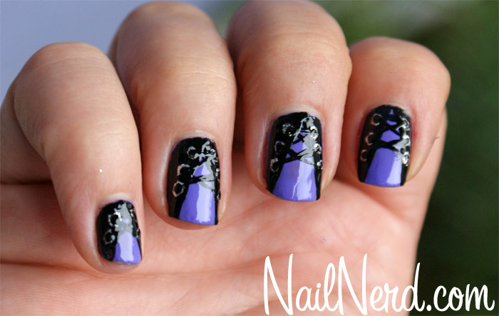 Purple and black nails with corset design prinsesfo Gallery