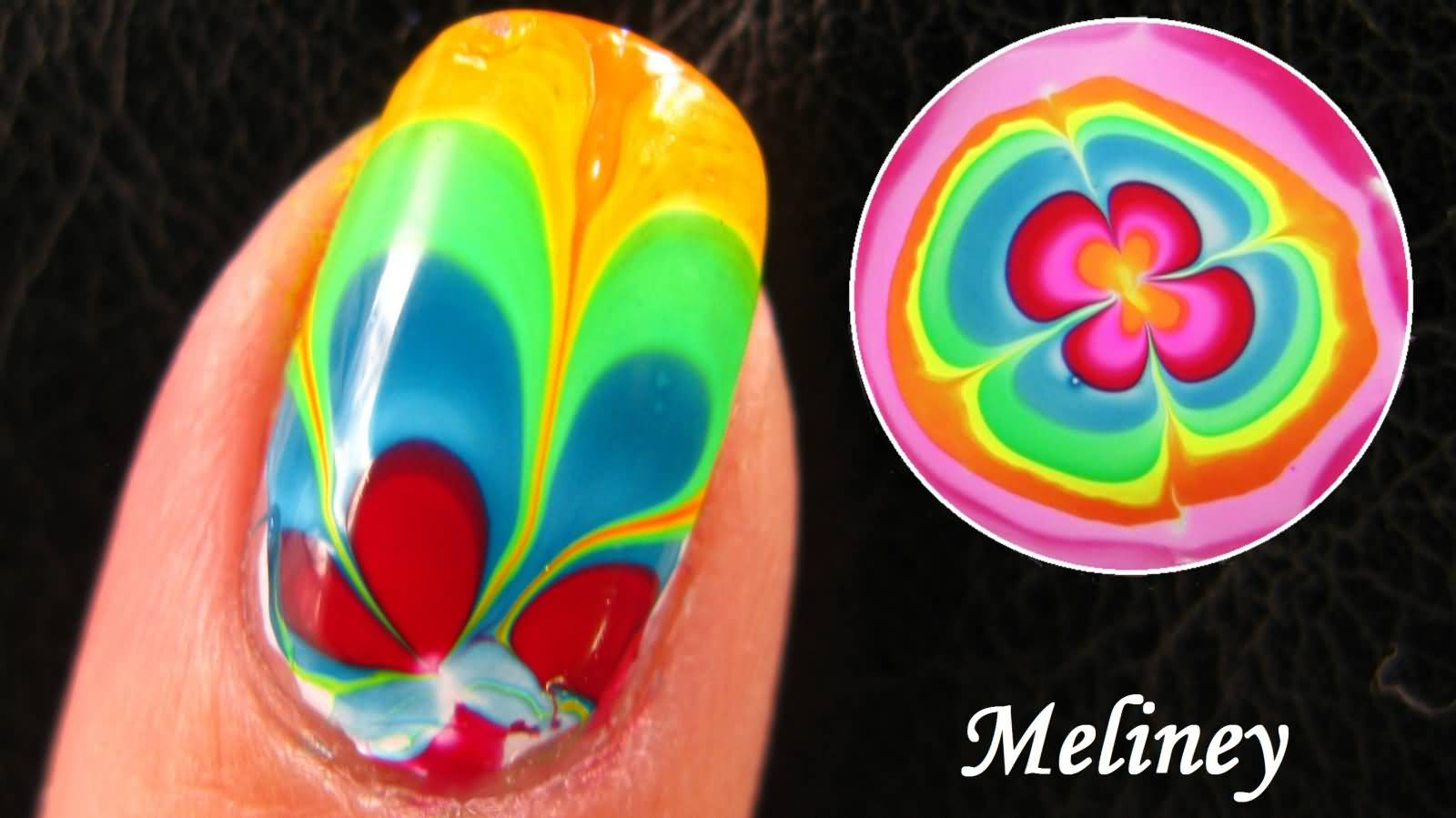 57 beautiful marble nail art design ideas rainbow water marble nail design idea prinsesfo Image collections