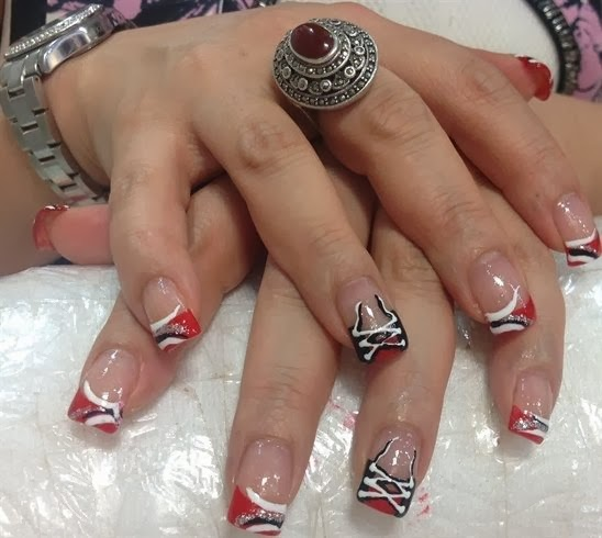 Red and black corset nail art design prinsesfo Images