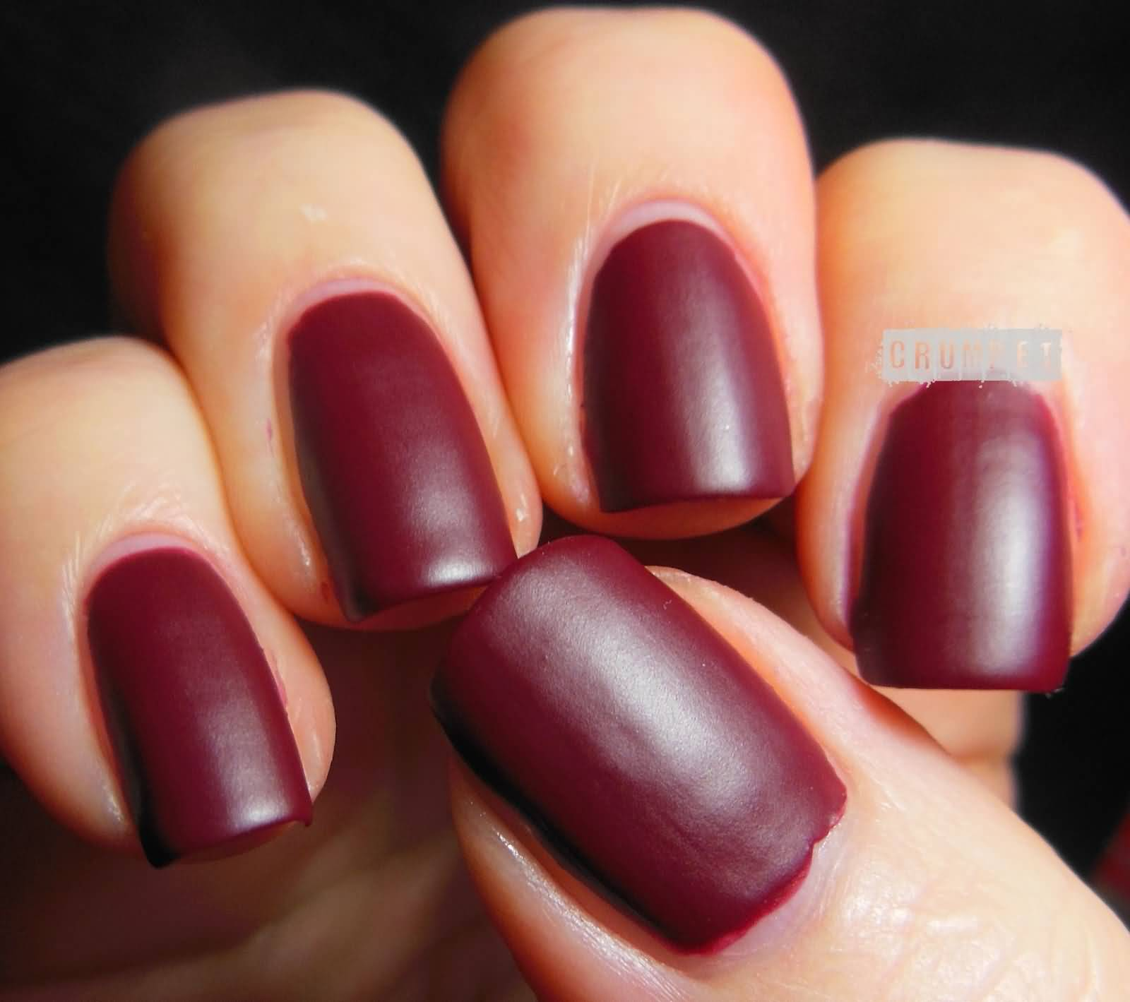 Simple Dark Red Matte Nail Art