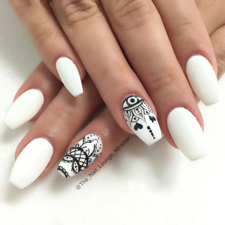 White Nail Ideas: White Matte Nail Art With Black Design