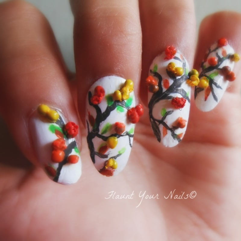 3D Fall And Thanksgiving Nail Art