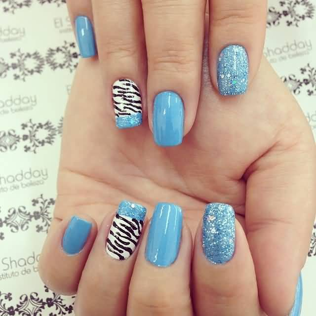 Blue zebra print nail design zebra print nail design ideas photos view images accent blue zebra print nail art prinsesfo Images
