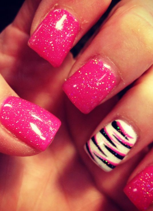 Accent Pink And Black Zebra Print Nail Art