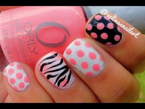 Accent Zebra Print And Polka Dots Nail Art