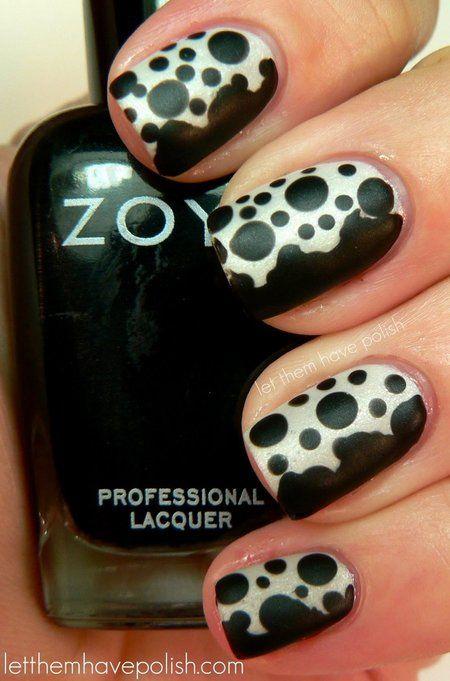 Amazing Black And White Polka Dots Nail Art