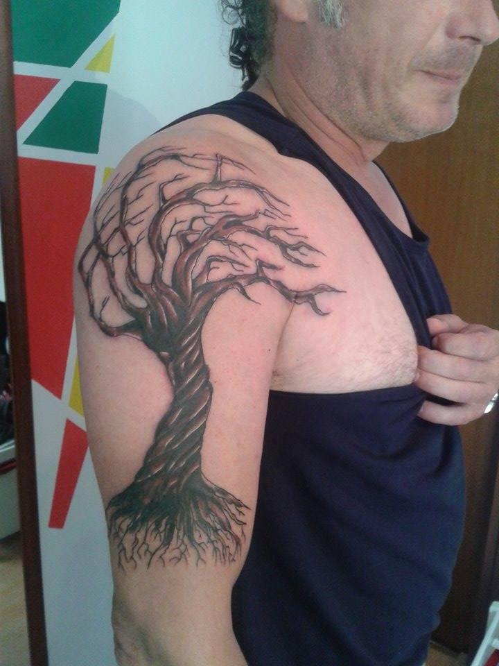 Autumn Tree Tattoo On Man Right Half Sleeve By Marley