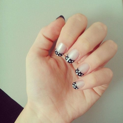 Beautiful French Tip Polka Dots Nail Art