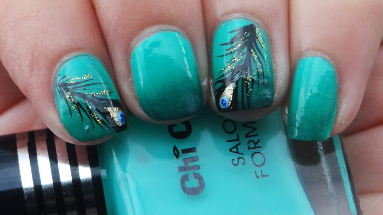 Beautiful Pea Feather Nail Art